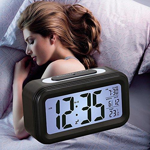 Smart LED Wecker, SHAWE Digital-Wecker mit extra großem Display, Snooze , Datumsanzeige, Temperatur,batteriebetriebener(Schwarz)