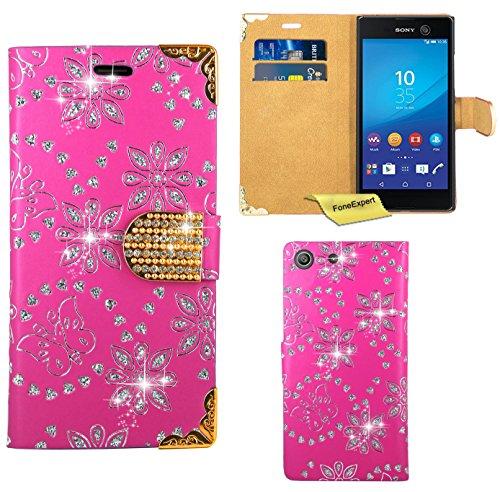 Preisvergleich Produktbild Sony Xperia M5 Handy Tasche, FoneExpert® Bling Luxus Diamant Hülle Wallet Case Cover Hüllen Etui Ledertasche Premium Lederhülle Schutzhülle für Sony Xperia M5 (Rosa)