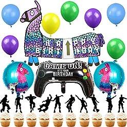 Shine Party Juego De Suministros Para Fiestas De Videojuegos Feliz Cumpleaños Banner Controlador De Video Llama Balloons Cake Toppers Para