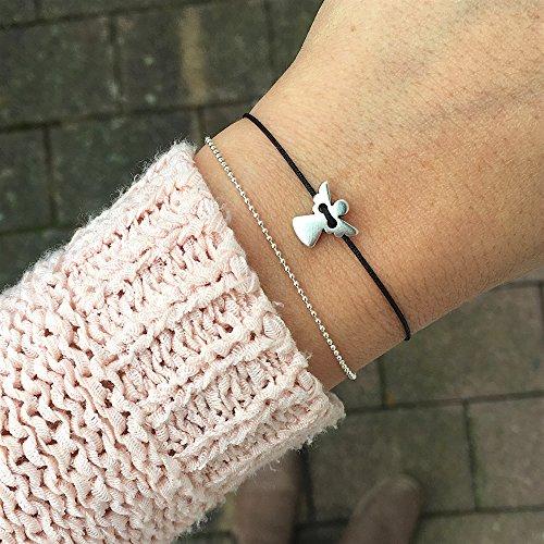 Schutzengel Armband - Silber Schwarz - Filigranes Armbändchen als Glücksbringer