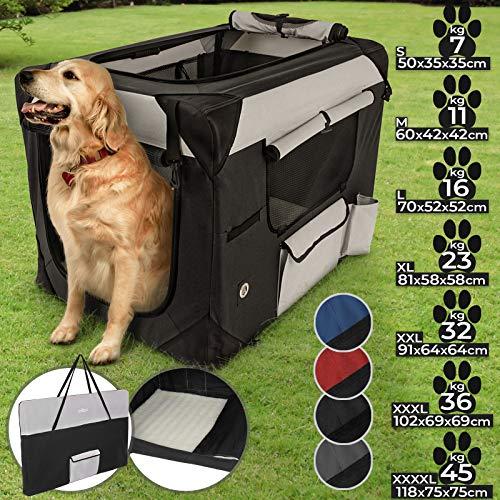 Hundebox aus Stoff - faltbar, zusammengefaltet tragbar, abwaschbar, Farbwahl, Größenwahl S-XXXXL - Hundetransportbox, Auto Transportbox, Katzenbox für Hunde, Katzen und Kleintiere (XXL, Schwarz)