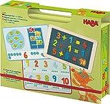 HABA 302589 - Magnetspiel-Box 1, 2, Zählerei | Fröhlich-buntes Zahlen-Legespiel ab 4 Jahren | Zum spielerischen Kennenlernen von Mengen und Lösen erster Rechenaufgaben