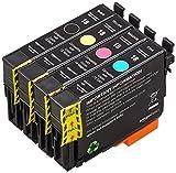 AmazonBasics - Cartucho de tinta regenerado, Epson Daisy 18, multipack de 4 colores