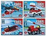 diverse 4 x Bausteine Baustein Bausatz Fahrzeuge Feuerwehr 26-32 teilig