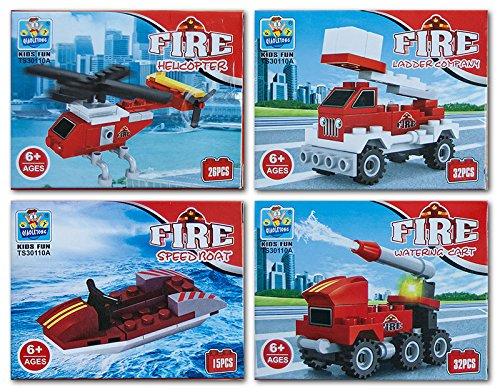 8 x Bausteine Baustein Bausatz Fahrzeuge Feuerwehr 26-32 teilig