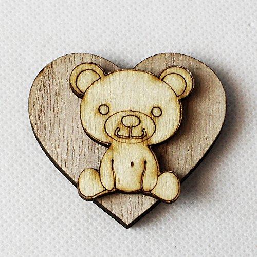 Dlm26215 (kit 12 pezzi) magnete calamita cuore orso orsetto in legno segnaposto confettata bomboniera