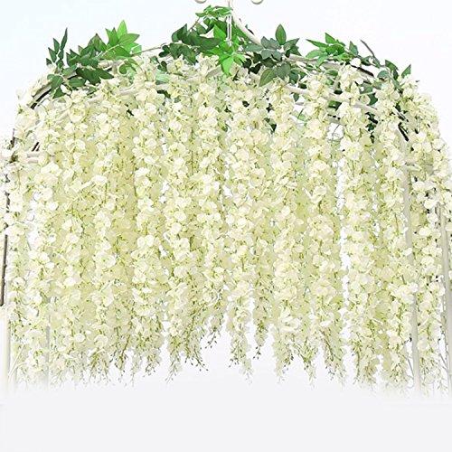 12 Stück JUYUAN-EU künstliche Wisteria Kunstblumen Home Vine Decor SeidenBlumen Dekoration für Hochzeiten,106 cm Weiss