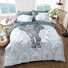 Sleepdown Elephant Mandala Teal Bed Reversable Quilt Duvet Cover Set Easy Care Anti-Allergic Soft & Smooth with Pillow Cases (King Size)