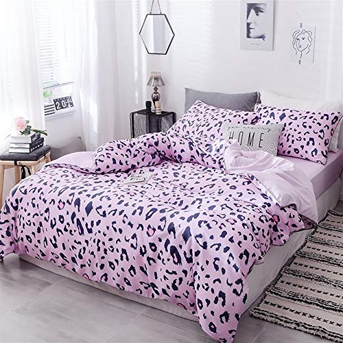 UOUL Laken Set Seide Tencel Bettwäsche 4 Stück Weiche Leopard Pink Verblassen Sie Nicht Komfort Männer Und Frauen Schlafzimmer Twin Voll,Pink,Twin -