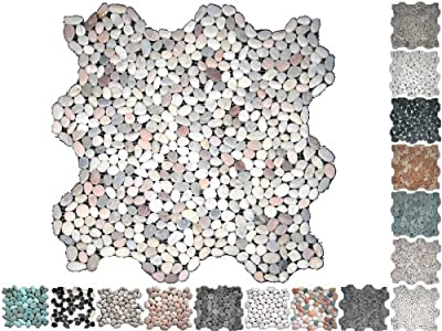 1 Netz Flusssteine Mini Rund Nature Riverstone von Mosaikdiscount24 - TapetenShop