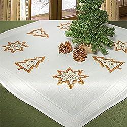 Kamaca - Kit de punto de cruz para mantel (algodón, 80 x 80 cm, predibujado, incluye hilo de bordar Anchor de 7 colores de algodón 100% de gran calidad y mantel de 80 x 80 cm), diseño de motivos navideños