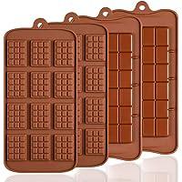 Lot de 4 moules en Silicone pour Chocolat, Senhai 2 Types d'Break Apart antiadhésif Candy Protéines et Energy Bar Moule…