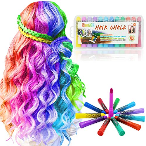 Colori capelli lavabili temporanei - gessi colorati per capelli non-tossici | set 12 colori regalo natale feste compleanno | trucchi capelli bambina cosplay | tintura ciocche gessetti capelli adulto
