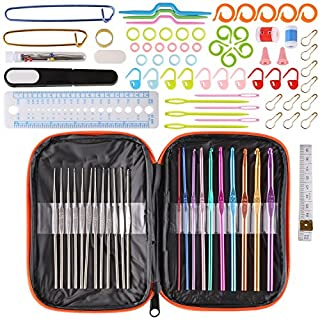 Fixkit Häkelnadeln häkelnadel Set 100 Stück Häkelhaken mit Ergonomische Griff Häkeln Stricken Nadeln inkl. tragbaren Tasche