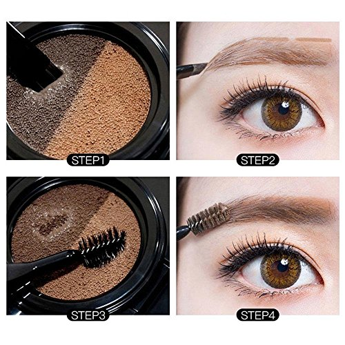 Augenbrauen-Puder, leegoal doppelte Farbe langlebig wasserdicht, keine Make-up Luftkissen-Augenbrauen-Creme mit Pinseln(Doppelte asche)