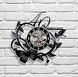 MYMGG Vinyl Wall Clock Ebay Wunsch Circular Black Vinyl Wanduhr Geeignet für Den Einsatz an Vielen Orten