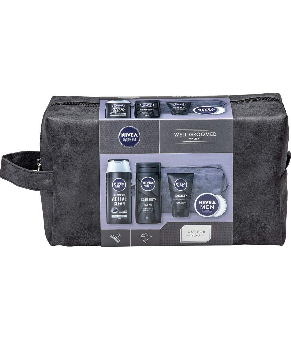 NIVEA MEN Well Groomed Gift Set for Him (5 Products), Men´s Grooming Kit & Washbag, Includes Shower Gel, Cleansing Men's…