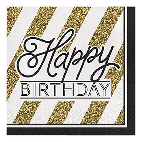 16 Serviettes Happy Birthday noir et or 33 cm
