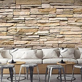 Decomonkey | Fototapete Stein Steinwand Steinoptik Braun 400x280 Cm |  Design Tapete | Fototapeten | Tapeten