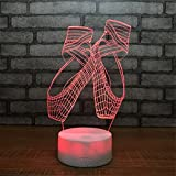 USB Powered Decorative Ballet Shoes 3D Touch Optical ILLusion Night Light Crackle Paint Base 7 Colors Changing Beside Table Desk Deco Lamp Bedroom Nightlight Portable Sleeping Light