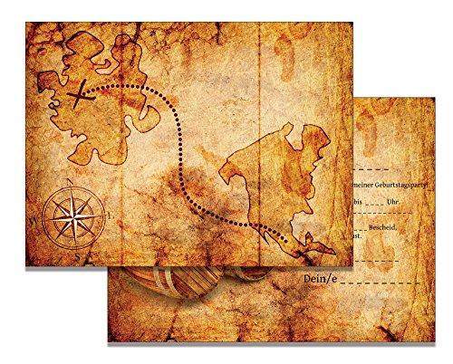 Set: 10 Einladungskarten Kindergeburtstag: Pirat / Schatzkarte / Schatzsuche / Piratenparty | Geburtstagseinladungen Einladungen Geburtstag Kinder Jungen Mädchen (10 XXL Karten mit 10 Umschlägen - Age Ice Halloween-kostüm