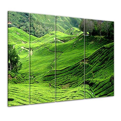 Kunstdruck - Teeplantage in Malaysia - Bild auf Leinwand - 180x120 cm 4 teilig - Leinwandbilder - Bilder als Leinwanddruck - Wandbild von Bilderdepot24 - Städte & Kulturen - Landschaften - Asien - Teefelder (Hochland 4)