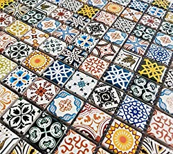 Moroccan Style Multi Colour Ceramic Square Mosaic Wall Tiles. Geometric Turkish 6mm.