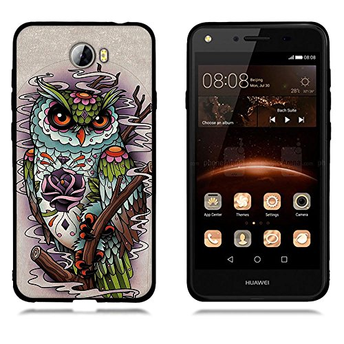 Custodia Huawei Y5 II Y5 2, FUBAODA Fashion Creative Contemporaneo Design Chic Design Easy Grip Durable Flex Retro Style Anti-Scratch Protezione Smart per Huawei Y5 II Y5 2 [Stampe retro Owl]