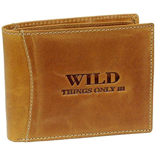 Bag Street Herren Geldbörse Portemonnaie Geldbeutel Rustikal Rindleder Leder 5453, Cognac, ohne