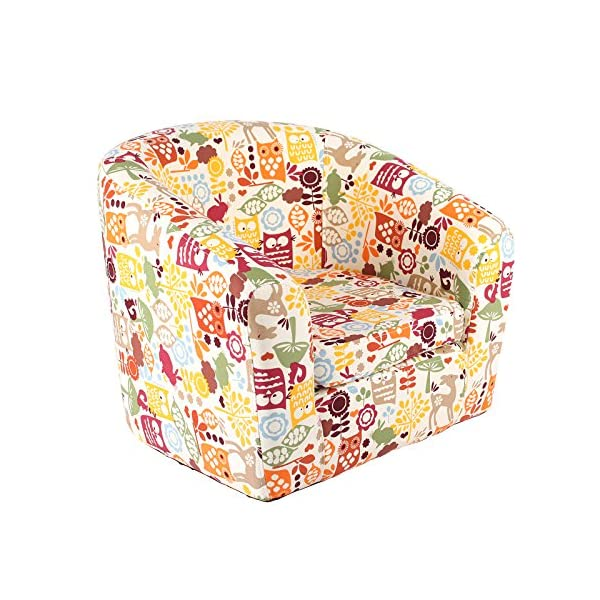 Emall Life Kid's Armchair Children's Tub Chair Cartoon Sofa Wooden Frame (Owl) Emall Life Beautiful cartoon fabric, easy to coordinate; Strong wooden frame, for durability High density foam, for added comfort; Sturdy legs, for a real furniture look Chair size: W50 x D41 x H43 cm; Recommended age: 2-4 years old 1