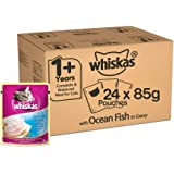 Whiskas Adult (+1 year) Wet Cat Food, Ocean Fish, 24 Pouches (24 x 85g)