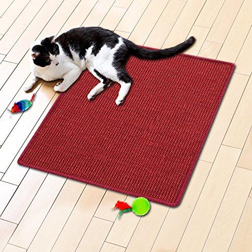 Floori® Sisal Kratzteppich | Naturfaser: nachhaltig und umweltfreundlich | Kratzmatte für die Krallenpflege Ihrer Katze | Rot, 100x100cm (Teppich 100 Roten)