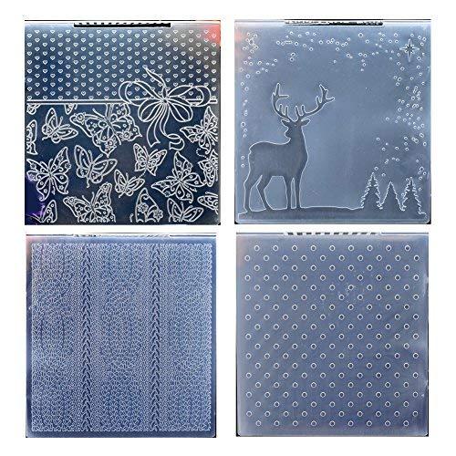 Kwan Crafts 4PCS anderen Stil Schmetterling Weihnachten Deer Curve Dots Kunststoff Prägefolder für Karte machen Scrapbooking und andere Papier Handwerk, 15,2x 15.2cm