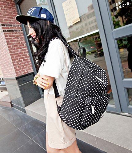 Yimidear zaino borsa donna ragazza in tela Pois per scuola viaggio shopping laptop eutro 14 Nero