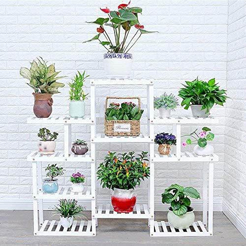 IU Desert Rose Étagère de balcon Étagère à fleurs étagère à fleurs multi-couche en bois massif plancher balcon salon intérieur en bois étagère à fleurs vert Luo Duo étagère à partition en viande (coul