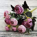 Godagoda Künstliche Pflanzen Creative Kamelie Simulation Unechte Gefälschte Kunstpflanze Kunstblume Tischdeko Wanddeko für Party Hochzeit Garten