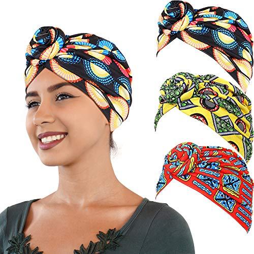 3 Piezas Pañuelo Turbante Africano Turbante Boho Gorro de Punto Elástico (Rojo, Negro y Amarillo)