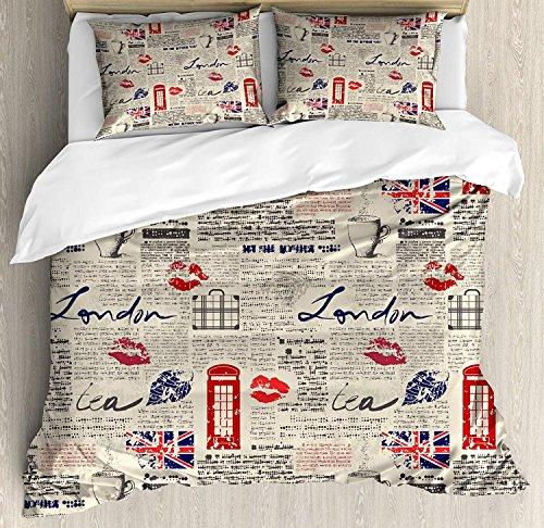 Tea Party 3-teiliges Bettwäscheset Bettbezug-Set, London Newspaper Inspired Background mit Grunge-Elementen Kiss Marks, 3-teiliges Tröster- / Qulit-Bezug-Set mit 2 Kissenbezügen, Beige Navy Blue Red -