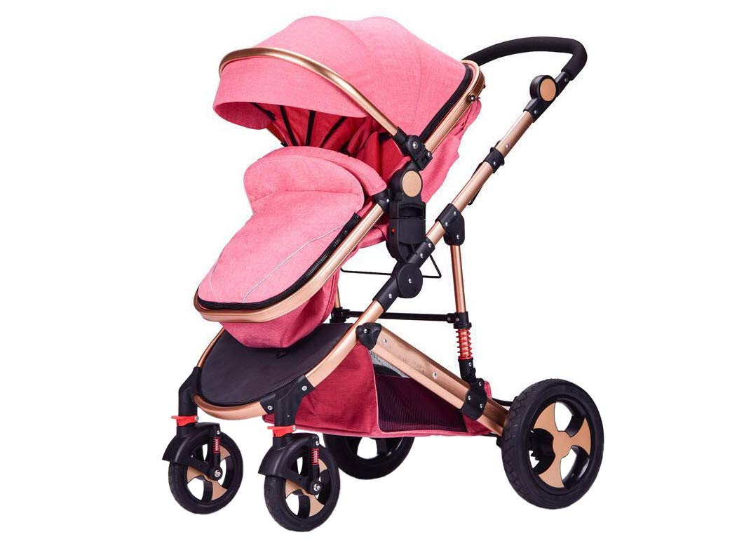 YulDek High View Baby Pram Stroller for Up to 3-Year Old with 5 Safe Carrying Positions - High View Frame - Pink, with 1-Year Guarantee, 20×20×20cm YulDek 5-point Safety Harness: The baby carrier is equipped with five fastening points to ensure the security of the baby, while keeping them at comfort. Multi-position Comfortable Backrest: Designed for the new-born babies, this baby stroller comes with an adjustable headrest which you can adjust in accordance to your child's height. Baby Carrier Up To 25kg: It is suitable for carrying 4-25kg of weight, which means 0-3 years old babies. 1