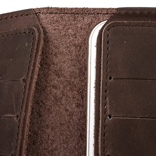 Portefeuille en cuir véritable pour Motorola Moto E Dual SIM Coque marron marron