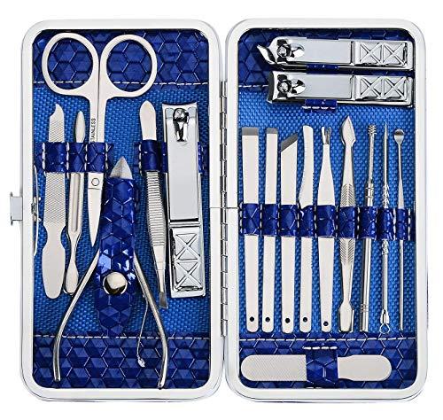 Foraco Maniküreset 18-Teilig Edelstahl Nagelset mit Leder Etui Nagelknipser Set für Nagelpflege Pediküre Und Manikür, Blau
