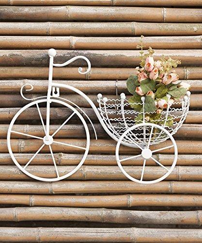 KKCFHUAJIA Blumenständer European-Style Iron Wall Hanging Flower Rack Creative Fahrrad Pastoral Pflanze Stand Blumentopf Regal Für Balkon Wohnzimmer Indoor (Farbe : Weiß) (Wall Rack-fahrrad)