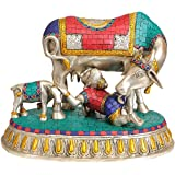 Exotic India Baby Krishna Drinking Cow's Milk - Brass With Inlay Statue