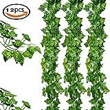 TIANXIN Künstlich Efeu Girlande, 24M -12 Stück Künstliche Gemüse Leaf Garland Pflanzen Rebe Hängende Hochzeit Garland Gefälschte Laub Blumen Home Küche Garten Büro Hochzeit Wall Deco