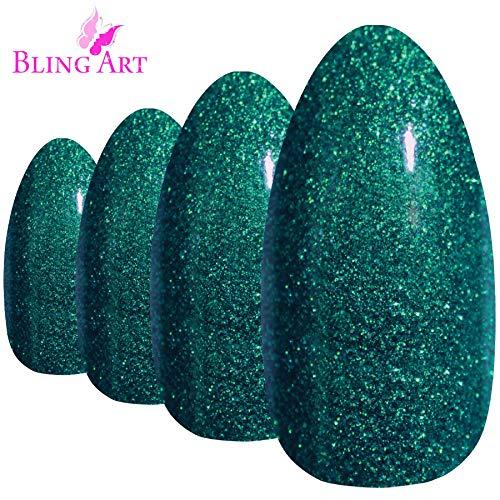 Faux Ongles Bling Art Gel Vert Stiletto 24 Longue Faux bouts d'ongles acrylique avec de la colle