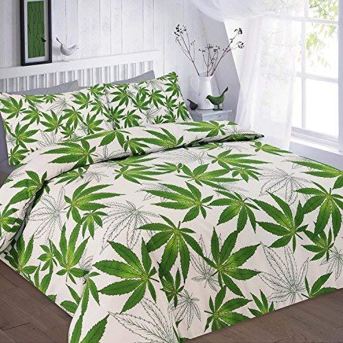 Voice7 New Marihuana Leaf Cannabis Weed Bettbezug Set, mit gratis Kissen ~ plycotton Stuff UK Größen, Green/White- Cannabis, King Size (Bettwäsche Bettbezug King White)