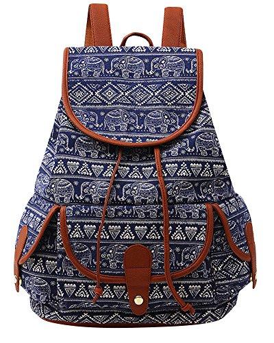 Damen Mädchen Casual Vintage Canvas Segeltuch Taschen Reisetaschen Schultaschen Rucksack Grau Diamant Blau Diamant