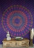 Guru-Shop Indisches Mandala Tuch, Wandtuch, Tagesdecke Mandala Druck - Blau/bunt, Mehrfarbig, Baumwolle, 280x220 cm, Bettüberwurf, Sofa Überwurf