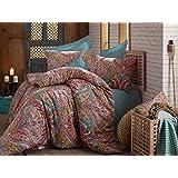 Parure de lit 100% coton égyptien Motif cachemire Damas Reine housse de couette Luxe Oriental Vert Vintage indien double ethnique