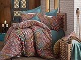Set di biancheria da letto Damasco cachemire 100% cotone egiziano regina copripiumino Luxury Oriental Vintage Verde Indiano Etnico doppio